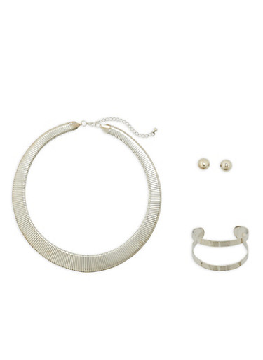 Flat Collar Necklace with Cuff Bracelet and Earrings,SILVER,large