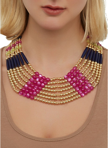 Multi Beaded Collar Necklace | 1138035157073,LIME,large