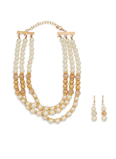 Faux Pearl Necklace with Matching Earrings,IVORY,large