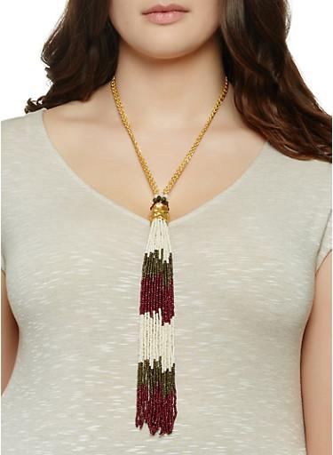 Beaded Fringe Tassel Necklace and Earrings,OLIVE,large
