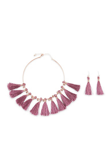 Tassel Collar Necklace with Matching Earrings,MAUVE,large