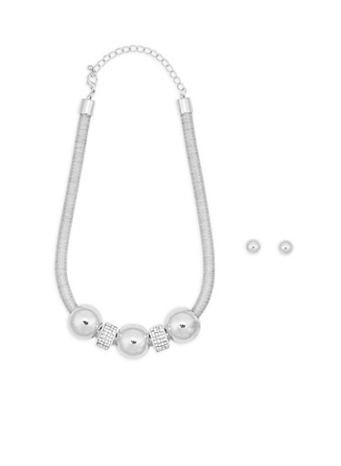 Metallic Cord Rhinestone Necklace with Stud Earrings,SILVER,large