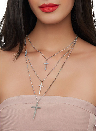 Layered Cross Charm Necklace with Stud Earrings,SILVER,large