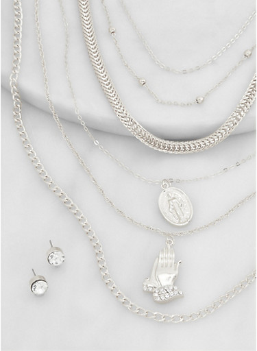 Religious Charm Layered Necklace and Stud Earrings Set,SILVER,large