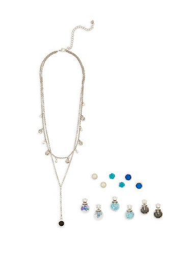Set of Reversible and Stud Earrings with Layered Necklace,SILVER,large