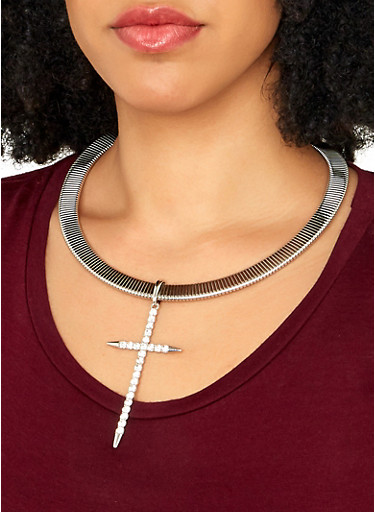 Cross Pendant Collar Necklace with Drop Earrings,SILVER,large