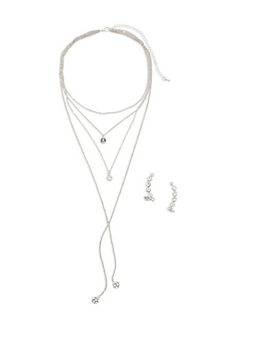 Layered Charm Necklace with Rhinestone Crawler Earrings,SILVER,large