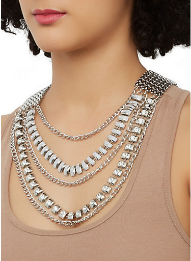 Layered Chain Necklace with Matching Earrings,SILVER,large