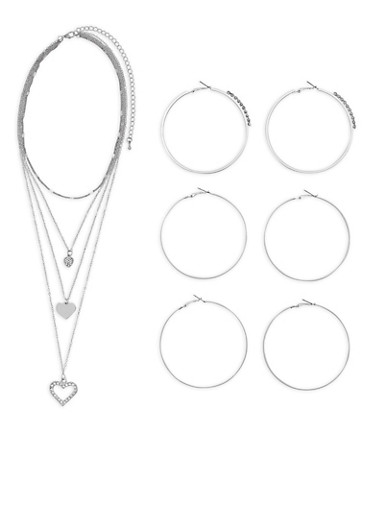Heart Charm Necklace with Hoop Earrings Trio,SILVER,large