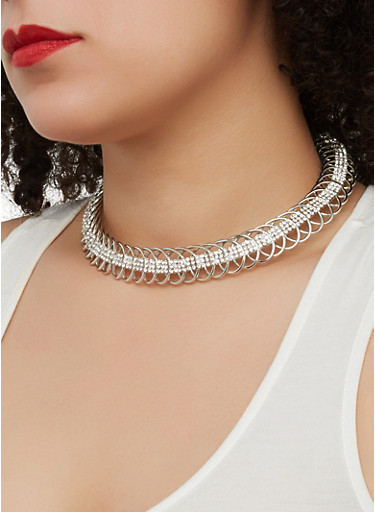 Metallic Braided Collar Necklace and Hoop Earrings Set,SILVER,large