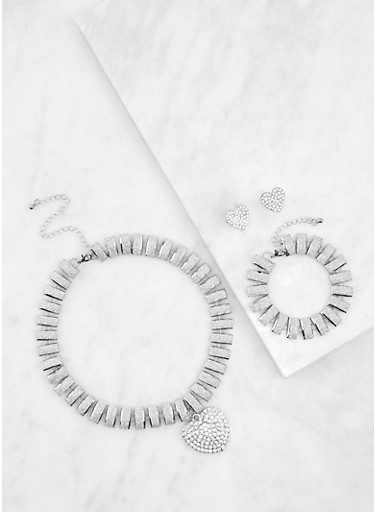 Glitter Necklace with Bracelet and Stud Earrings,SILVER,large