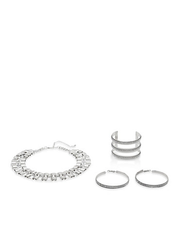 Rhinestone Studded Necklace with Cuff Bracelet and Earrings,SILVER,large