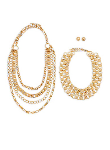 Wear 3 Ways Metallic Necklaces with Stud Earrings,GOLD,large