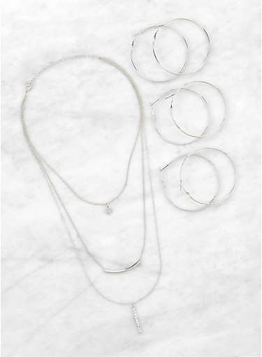 Layered Necklace and Hoop Earrings Set,SILVER,large