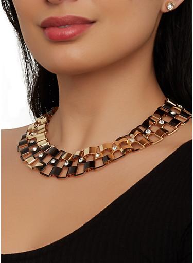 Metallic Rhinestone Collar Necklace and Stud Earrings,MULTI COLOR,large