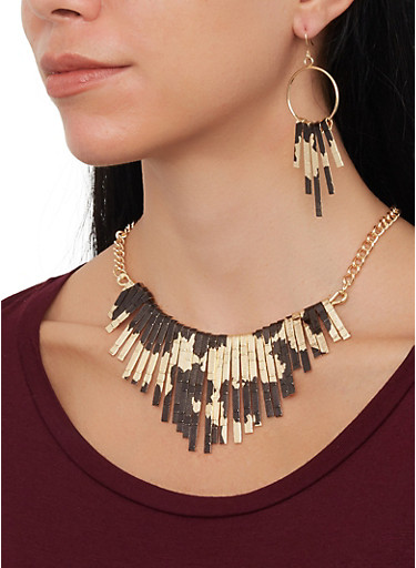 Colored Stick Necklace with Matching Earrings,BLACK,large