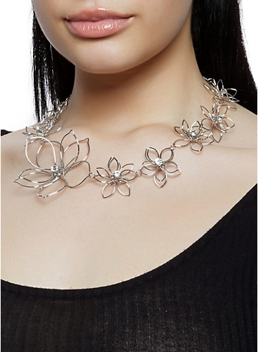 Rhinestone Metallic Flower Necklace and Earrings,SILVER,large