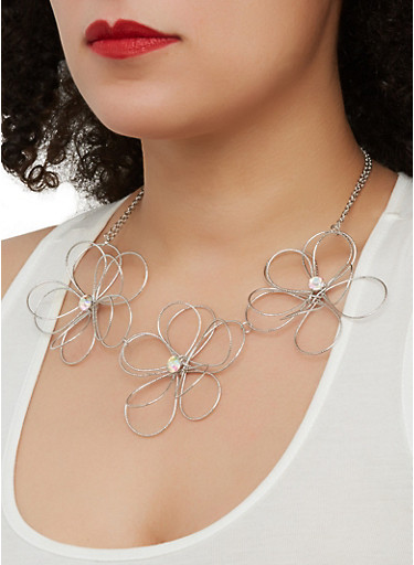 Metallic Wire Flower Necklace with Earrings,SILVER,large