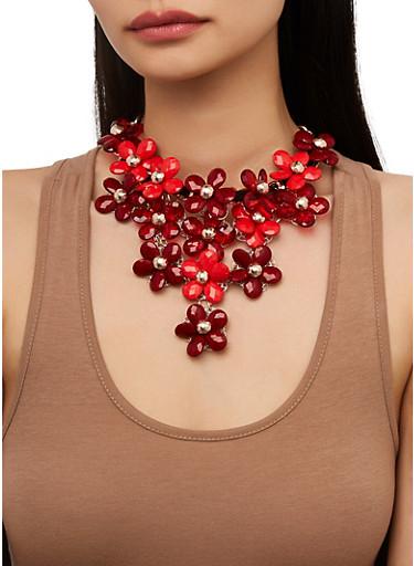 Flower Beaded Bib Necklace with Teardrop Earrings,RED,large