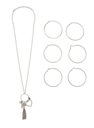 Charm Necklace with Hoop Earrings Set,SILVER,large