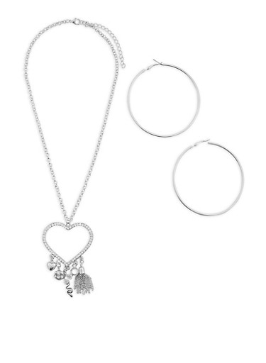 Rhinestone Heart Charm Necklace and Hoop Earrings,SILVER,large