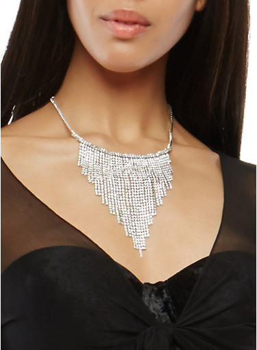 Rhinestone Fringe Necklace,SILVER,large