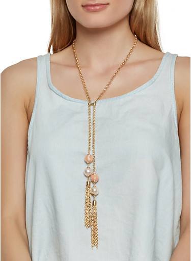 Long Beaded Metallic Tassel Necklace with Earrings,BLUSH,large