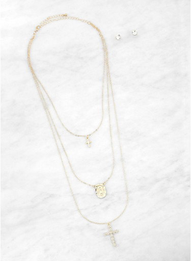 Layered Cross Necklace with Stud Earrings | 1138062819574,GOLD,large