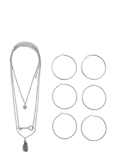 Tassel Key Necklace with Large Hoop Earring Trio,SILVER,large