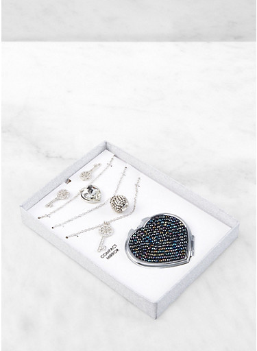 Key Charm Necklace Trio with Stud Earrings and Compact Mirror,SILVER,large