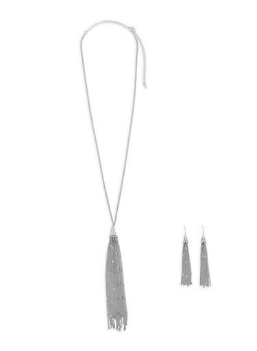 Metallic Chain Tassel Necklace with Matching Earrings,SILVER,large