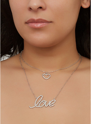 Love Layered Charm Necklace with Stud Earrings,SILVER,large