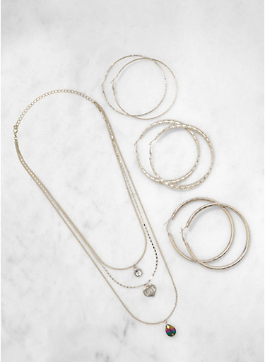Love Charm Necklace and Hoop Earrings,SILVER,large