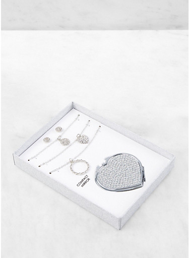 Rhinestone Compact Mirror with Necklaces and Stud Earrings,SILVER,large