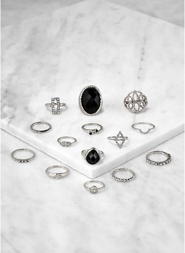Set of 14 Jeweled Metallic Rings,SILVER,large
