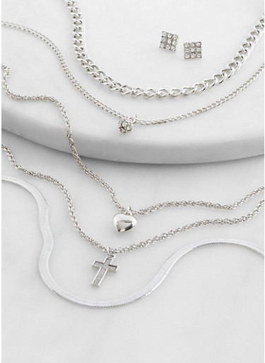 Assorted Metallic Necklaces and Stud Earrings,SILVER,large