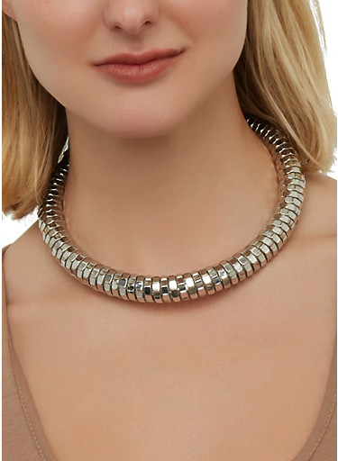 Textured Metallic Collar Necklace with Stud Earrings,SILVER,large