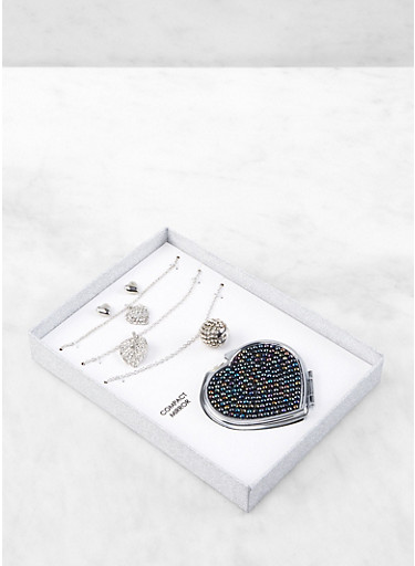 Rhinestone Trio of Necklaces with Stud Earrings and Compact Mirror,SILVER,large
