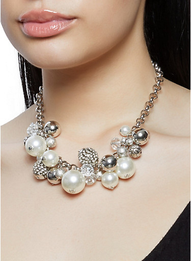 Faux Pearl Collar Necklace with Drop Earrings,SILVER,large