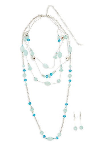 Layered Beaded Necklace with Matching Earrings Set,SILVER,large