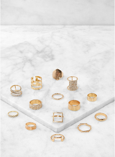 Set of 14 Assorted Rings,GOLD,large