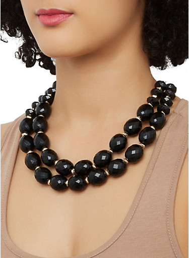 Two Row Beaded Necklace with Stretch Bracelets and Earrings,BLACK,large