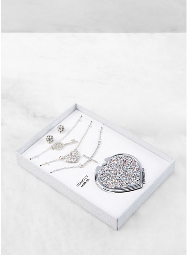 Layered Charm Necklace with Earrings and Compact Mirror,SILVER,large