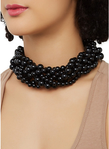 Twisted Collar Necklace and Drop Earrings,BLACK,large