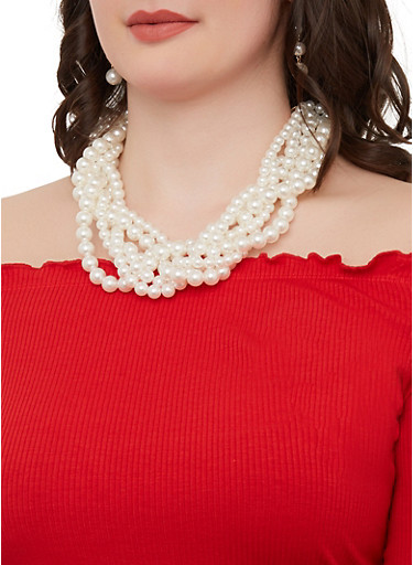 Layered Faux Pearl Necklace and Drop Earrings,IVORY,large