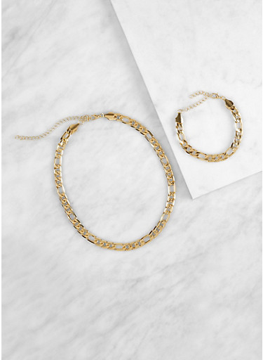 Curb Chain Necklace with Matching Bracelet,GOLD,large