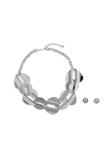 Interlocking Metallic Necklace with Stud Earrings Set,SILVER,large
