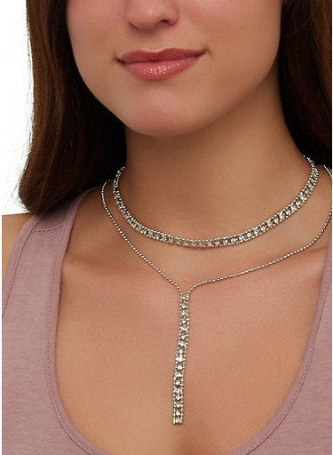 Rhinestone Choker Drop Chain Necklace with Earrings,SILVER,large