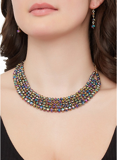 Beaded Necklace and Drop Earrings,MULTI COLOR,large