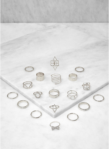 Set of Assorted Metallic Rings,SILVER,large
